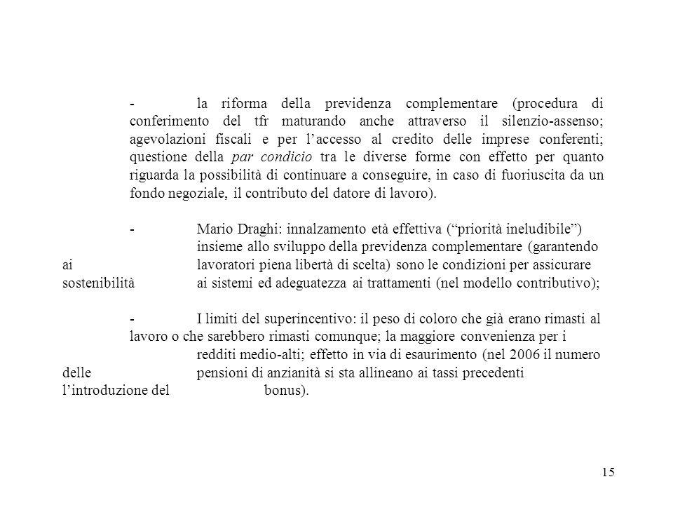 15 -la riforma della previdenza complementare (procedura di conferimento del tfr maturando anche attraverso il silenzio-assenso; agevolazioni fiscali