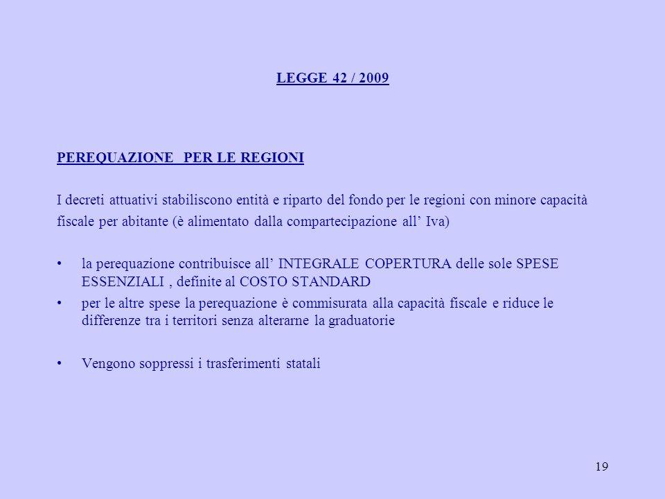 19 LEGGE 42 / 2009 PEREQUAZIONE PER LE REGIONI I decreti attuativi stabiliscono entità e riparto del fondo per le regioni con minore capacità fiscale per abitante (è alimentato dalla compartecipazione all Iva) la perequazione contribuisce all INTEGRALE COPERTURA delle sole SPESE ESSENZIALI, definite al COSTO STANDARD per le altre spese la perequazione è commisurata alla capacità fiscale e riduce le differenze tra i territori senza alterarne la graduatorie Vengono soppressi i trasferimenti statali