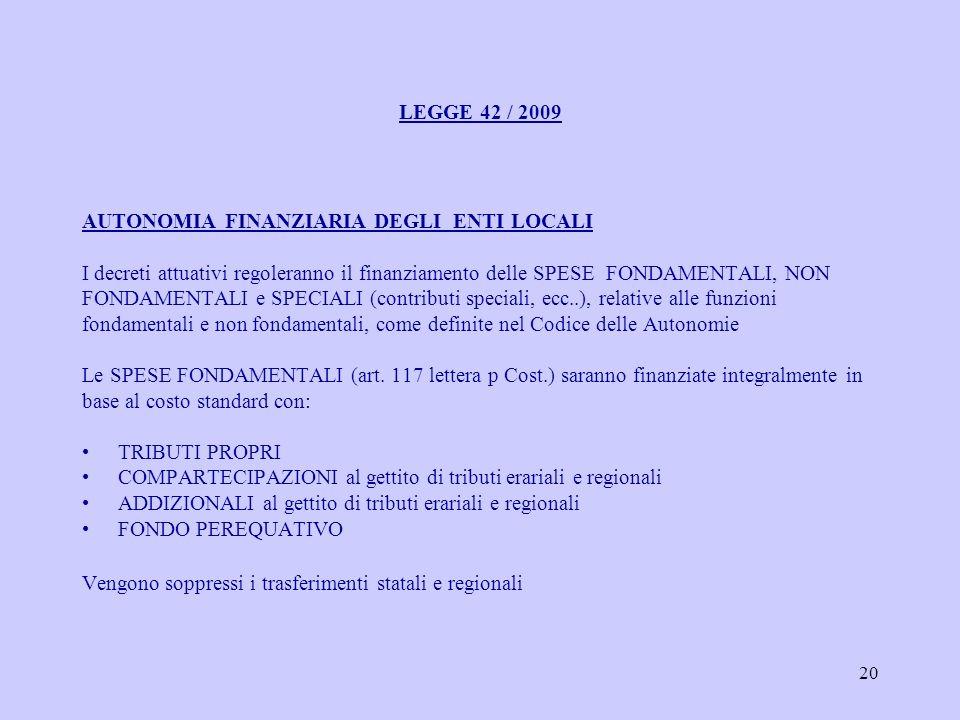 20 LEGGE 42 / 2009 AUTONOMIA FINANZIARIA DEGLI ENTI LOCALI I decreti attuativi regoleranno il finanziamento delle SPESE FONDAMENTALI, NON FONDAMENTALI e SPECIALI (contributi speciali, ecc..), relative alle funzioni fondamentali e non fondamentali, come definite nel Codice delle Autonomie Le SPESE FONDAMENTALI (art.