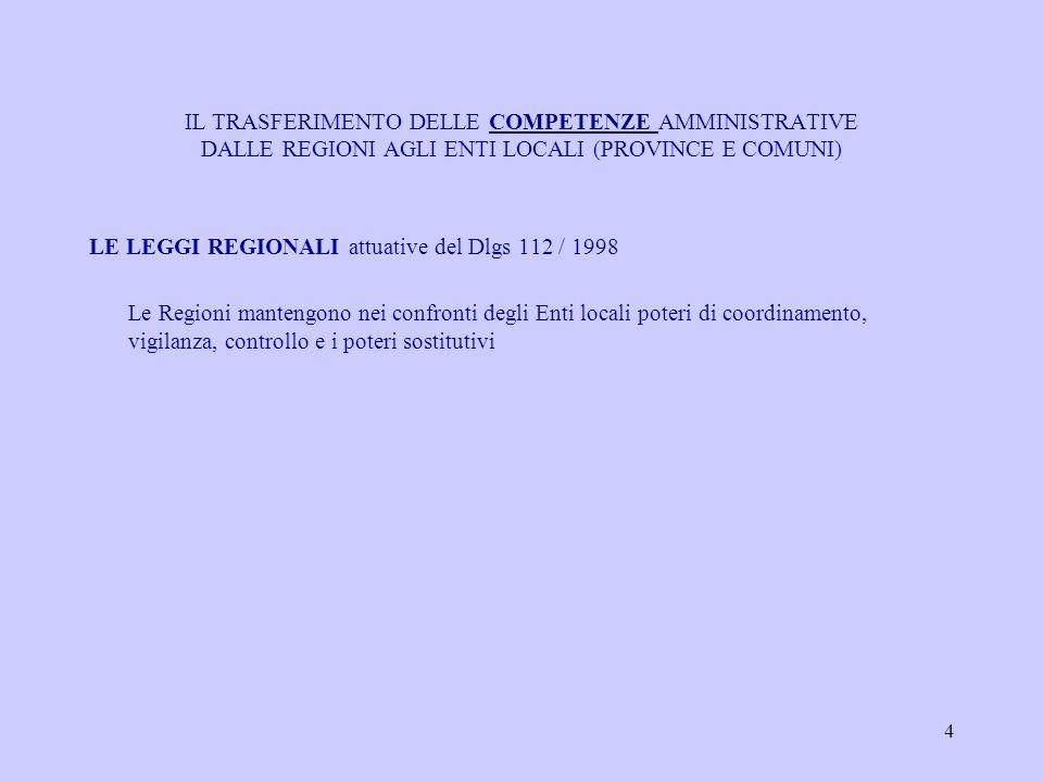 4 IL TRASFERIMENTO DELLE COMPETENZE AMMINISTRATIVE DALLE REGIONI AGLI ENTI LOCALI (PROVINCE E COMUNI) LE LEGGI REGIONALI attuative del Dlgs 112 / 1998 Le Regioni mantengono nei confronti degli Enti locali poteri di coordinamento, vigilanza, controllo e i poteri sostitutivi