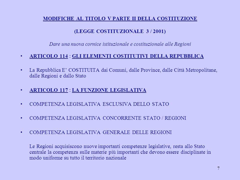 7 MODIFICHE AL TITOLO V PARTE II DELLA COSTITUZIONE (LEGGE COSTITUZIONALE 3 / 2001) Dare una nuova cornice istituzionale e costituzionale alle Regioni ARTICOLO 114 : GLI ELEMENTI COSTITUTIVI DELLA REPUBBLICA La Repubblica E COSTITUITA dai Comuni, dalle Province, dalle Città Metropolitane, dalle Regioni e dallo Stato ARTICOLO 117 : LA FUNZIONE LEGISLATIVA COMPETENZA LEGISLATIVA ESCLUSIVA DELLO STATO COMPETENZA LEGISLATIVA CONCORRENTE STATO / REGIONI COMPETENZA LEGISLATIVA GENERALE DELLE REGIONI Le Regioni acquisiscono nuove importanti competenze legislative, resta allo Stato centrale la competenza sulle materie più importanti che devono essere disciplinate in modo uniforme su tutto il territorio nazionale