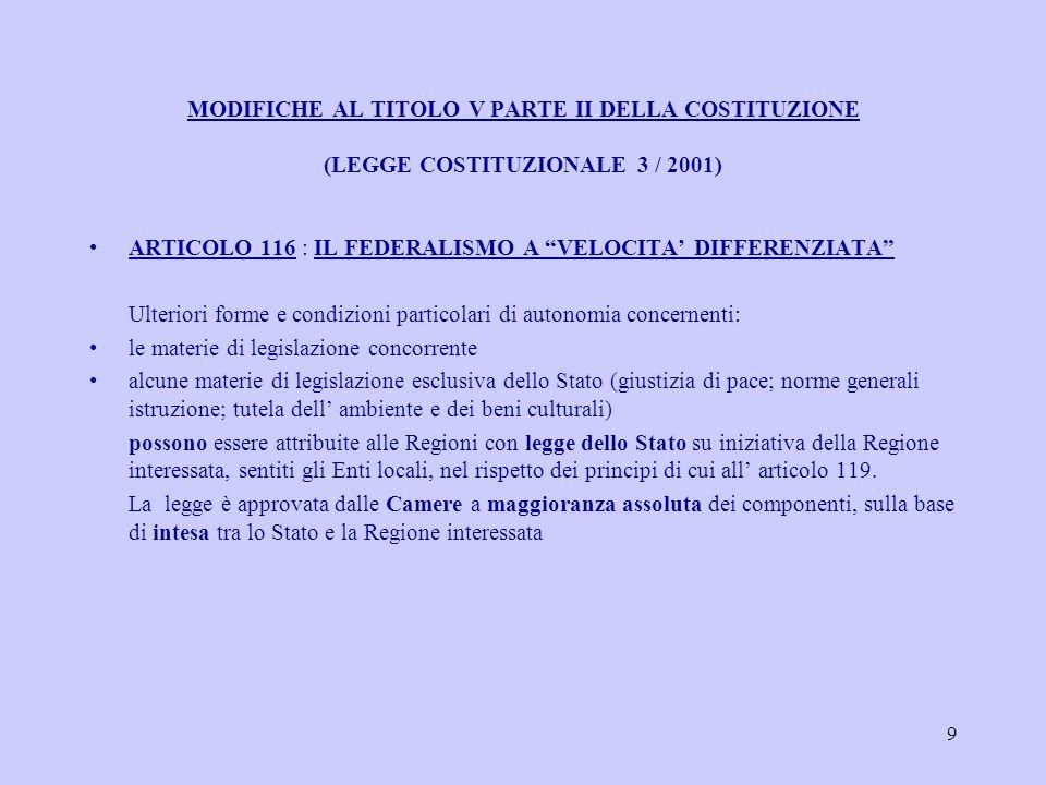 9 MODIFICHE AL TITOLO V PARTE II DELLA COSTITUZIONE (LEGGE COSTITUZIONALE 3 / 2001) ARTICOLO 116 : IL FEDERALISMO A VELOCITA DIFFERENZIATA Ulteriori forme e condizioni particolari di autonomia concernenti: le materie di legislazione concorrente alcune materie di legislazione esclusiva dello Stato (giustizia di pace; norme generali istruzione; tutela dell ambiente e dei beni culturali) possono essere attribuite alle Regioni con legge dello Stato su iniziativa della Regione interessata, sentiti gli Enti locali, nel rispetto dei principi di cui all articolo 119.