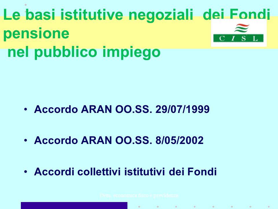 Dem. economica fisco e previdenza Le basi istitutive negoziali dei Fondi pensione nel pubblico impiego Accordo ARAN OO.SS. 29/07/1999 Accordo ARAN OO.