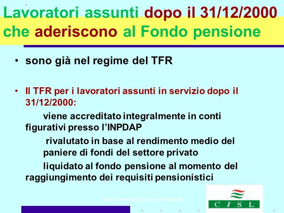 Dem. economica fisco e previdenza Lavoratori assunti dopo il 31/12/2000 che aderiscono al Fondo pensione sono già nel regime del TFR Il TFR per i lavo
