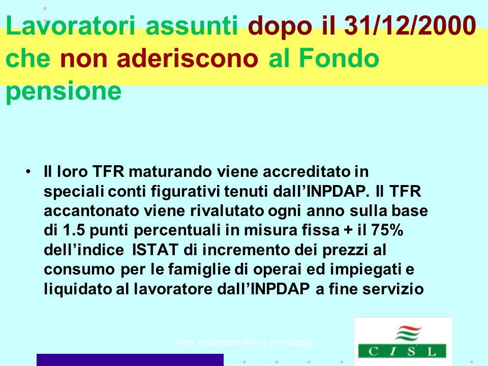 Dem. economica fisco e previdenza Lavoratori assunti dopo il 31/12/2000 che non aderiscono al Fondo pensione Il loro TFR maturando viene accreditato i