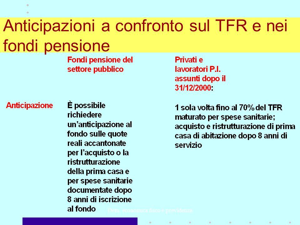 Dem. economica fisco e previdenza Anticipazioni a confronto sul TFR e nei fondi pensione