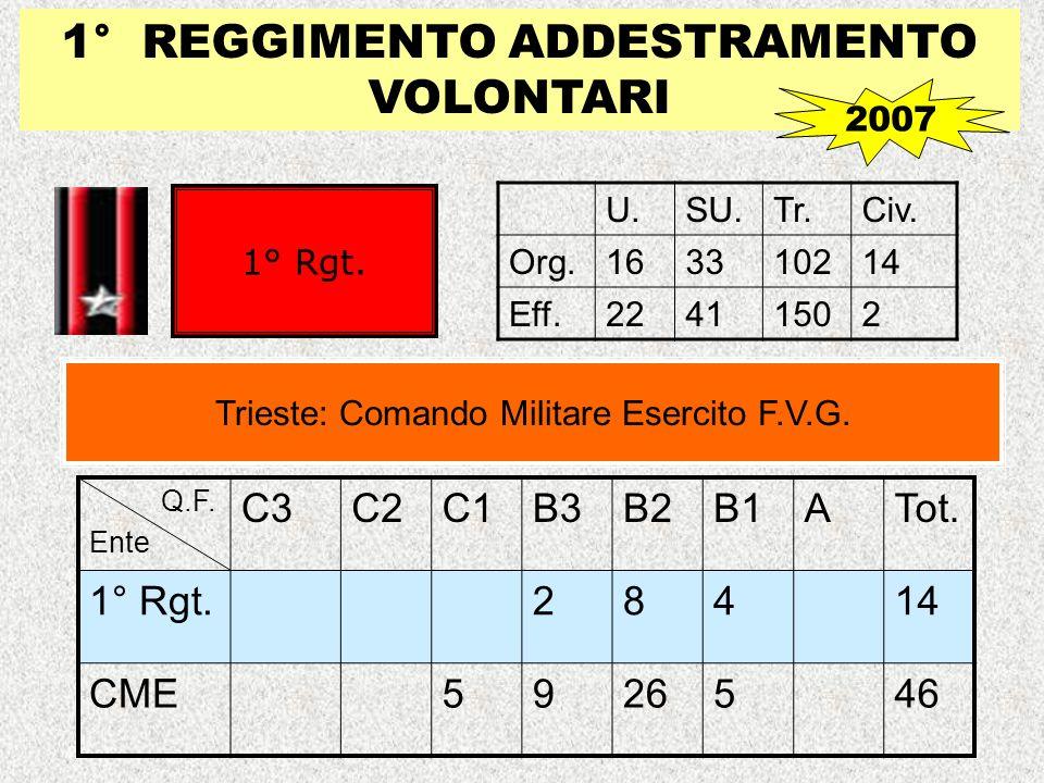 1° REGGIMENTO ADDESTRAMENTO VOLONTARI U.SU.Tr.Civ. Org.163310214 Eff.22411502 Trieste: Comando Militare Esercito F.V.G. 1° Rgt. 2007 Q.F. Ente C3C2C1B