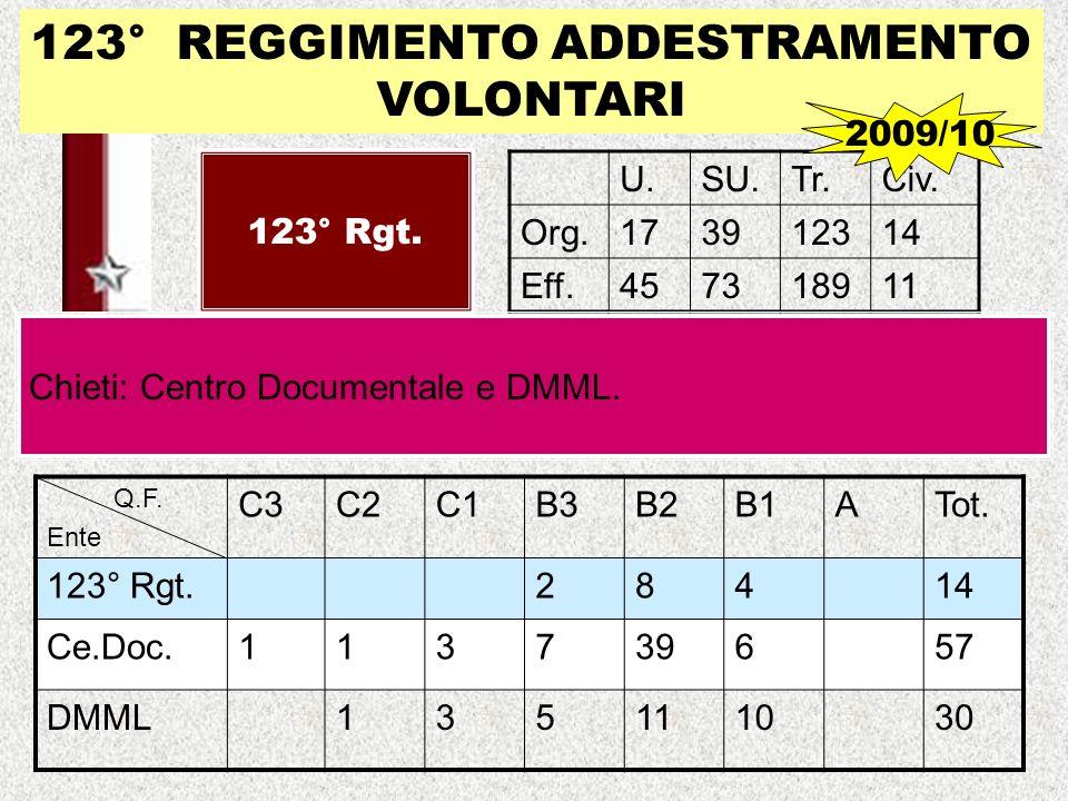 123° REGGIMENTO ADDESTRAMENTO VOLONTARI 123° Rgt. U.SU.Tr.Civ. Org.173912314 Eff.457318911 Chieti: Centro Documentale e DMML. 2009/10 Q.F. Ente C3C2C1