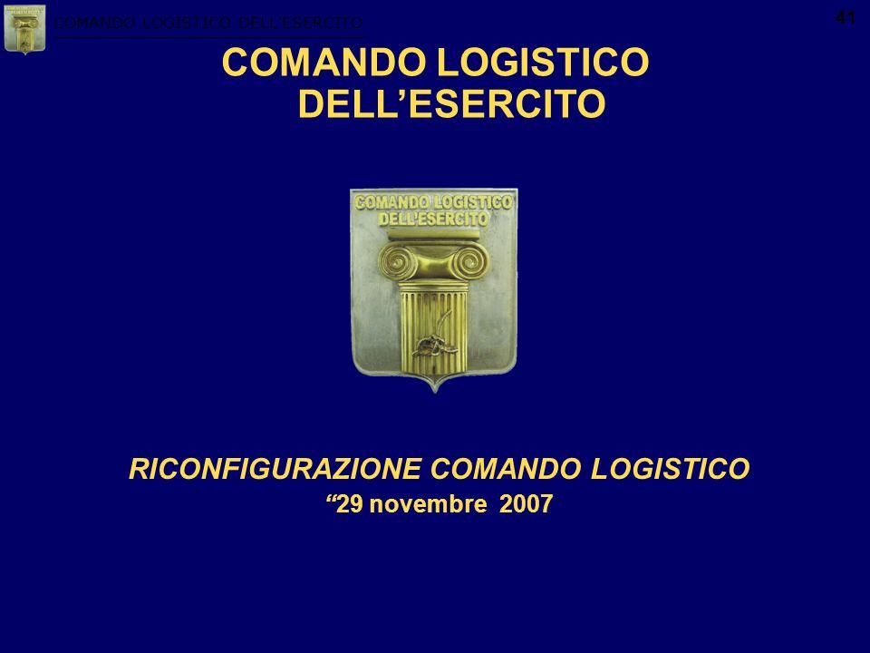 COMANDO LOGISTICO DELLESERCITO 41 COMANDO LOGISTICO DELLESERCITO RICONFIGURAZIONE COMANDO LOGISTICO 29 novembre 2007
