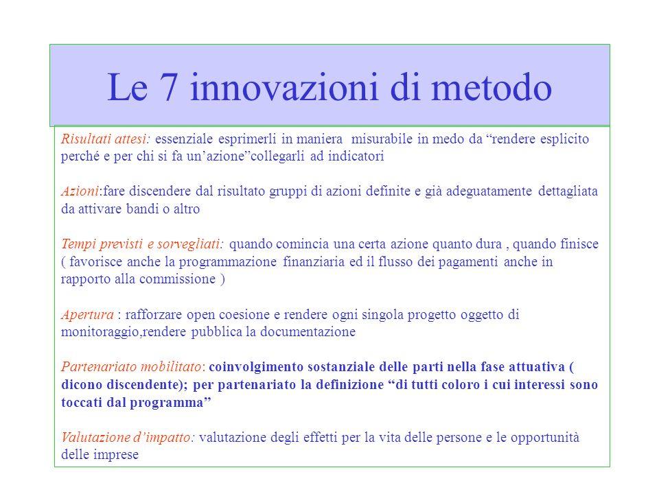 Le 7 innovazioni di metodo Risultati attesi: essenziale esprimerli in maniera misurabile in medo da rendere esplicito perché e per chi si fa unazionec