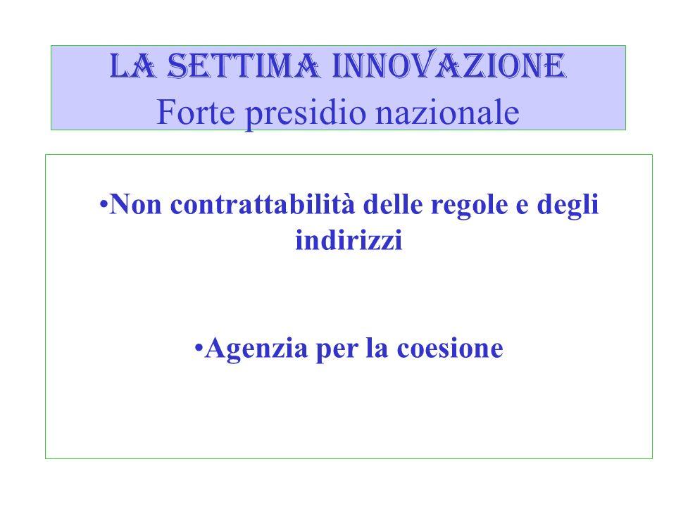 la settima innovazione Forte presidio nazionale Non contrattabilità delle regole e degli indirizzi Agenzia per la coesione