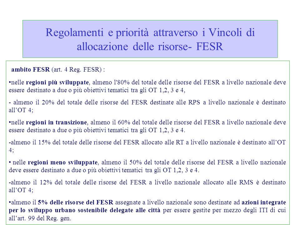 Regolamenti e priorità attraverso i Vincoli di allocazione delle risorse- FESR ambito FESR (art. 4 Reg. FESR) : nelle regioni più sviluppate, almeno l