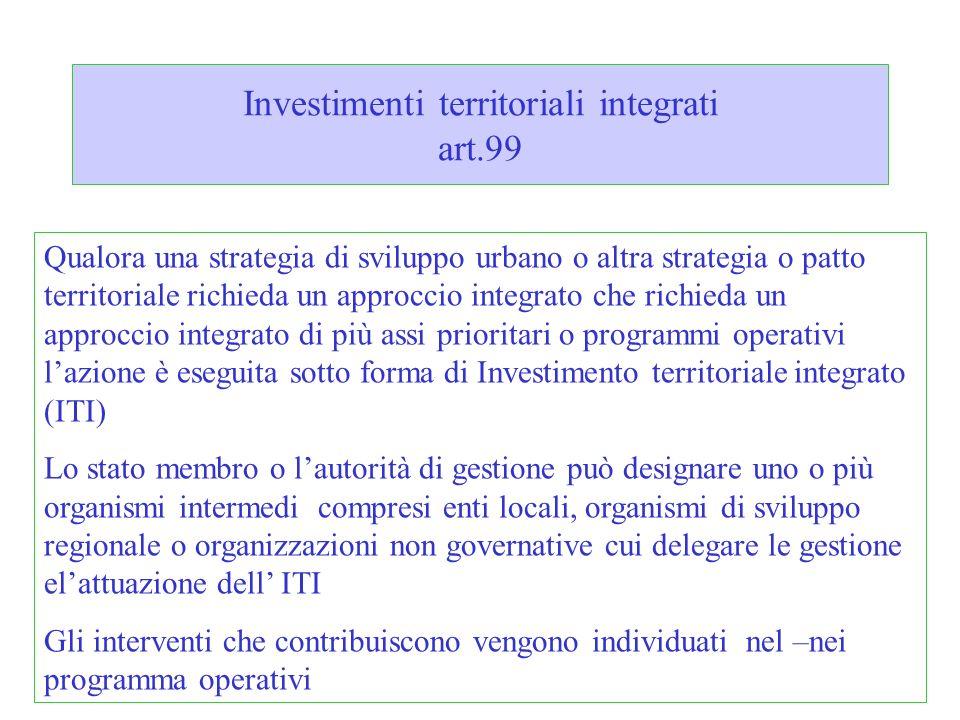 Investimenti territoriali integrati art.99 Qualora una strategia di sviluppo urbano o altra strategia o patto territoriale richieda un approccio integ