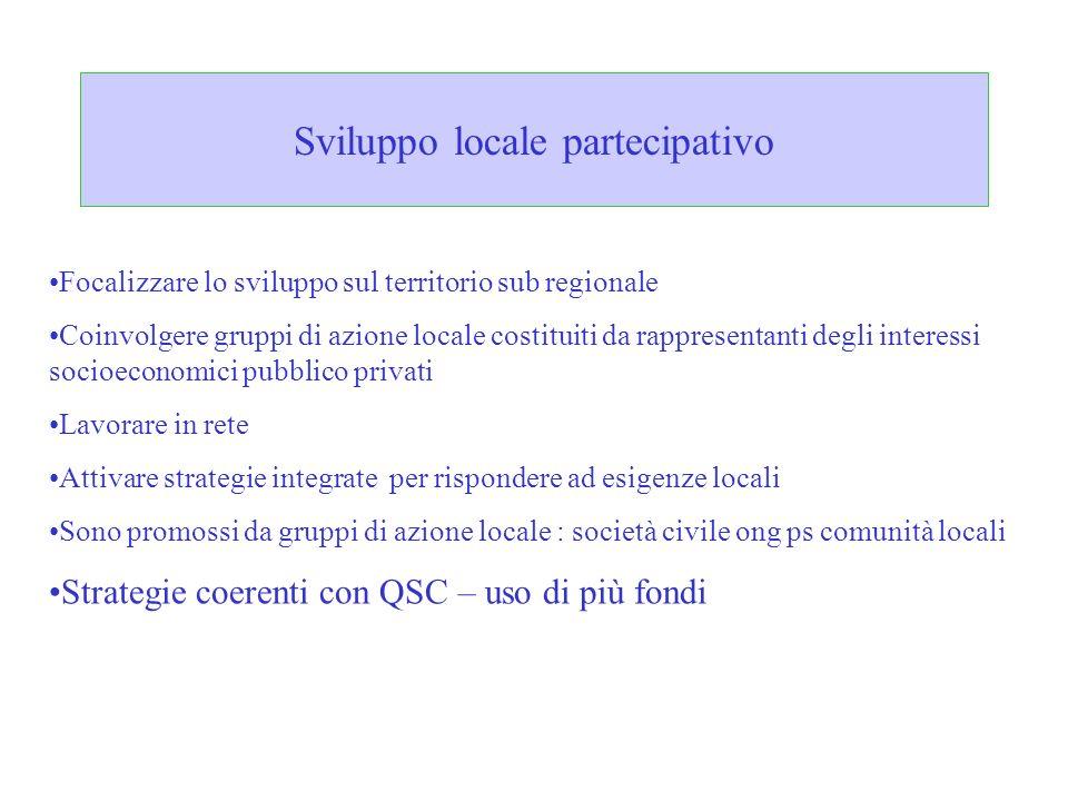 Sviluppo locale partecipativo Focalizzare lo sviluppo sul territorio sub regionale Coinvolgere gruppi di azione locale costituiti da rappresentanti de