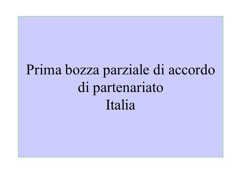 Prima bozza parziale di accordo di partenariato Italia