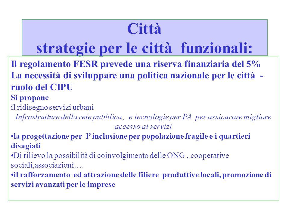 Città strategie per le città funzionali: Il regolamento FESR prevede una riserva finanziaria del 5% La necessità di sviluppare una politica nazionale
