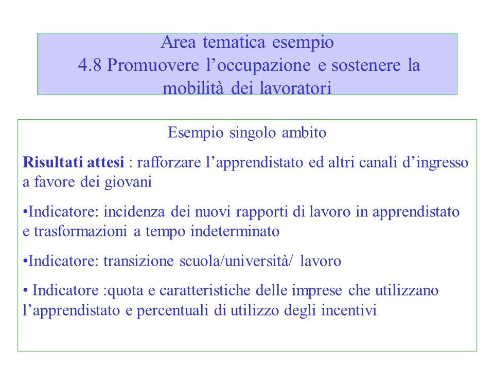 Area tematica esempio 4.8 Promuovere loccupazione e sostenere la mobilità dei lavoratori Esempio singolo ambito Risultati attesi : rafforzare lapprend
