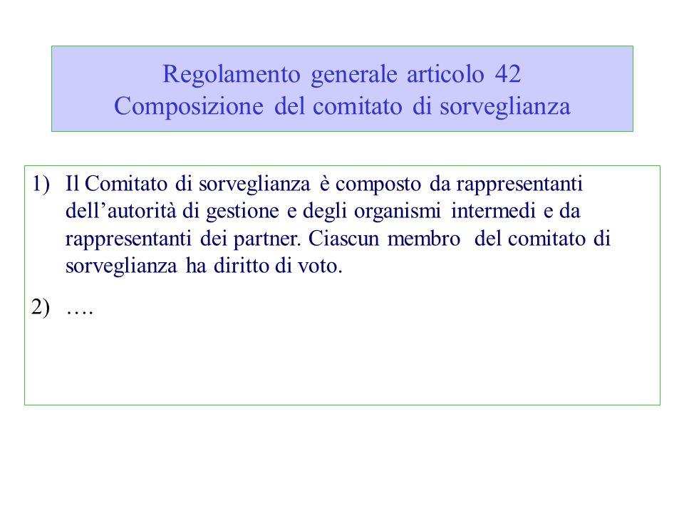 Regolamento generale articolo 42 Composizione del comitato di sorveglianza 1)Il Comitato di sorveglianza è composto da rappresentanti dellautorità di