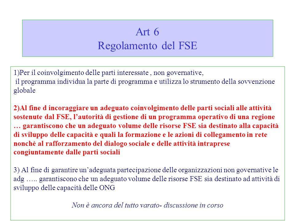 Art 6 Regolamento del FSE 1)Per il coinvolgimento delle parti interessate, non governative, il programma individua la parte di programma e utilizza lo