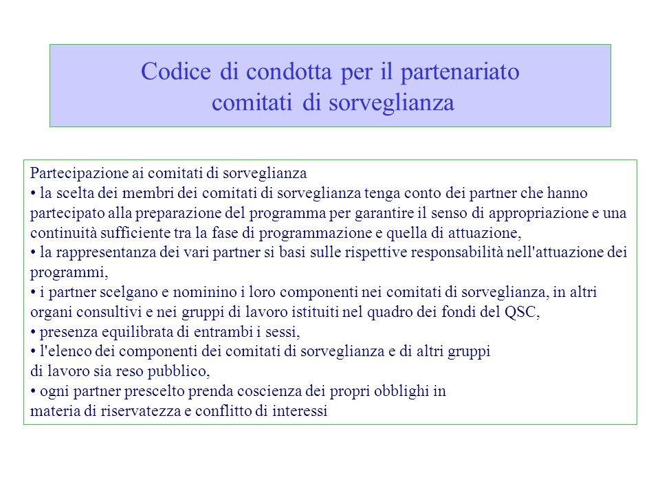 Codice di condotta per il partenariato comitati di sorveglianza Partecipazione ai comitati di sorveglianza la scelta dei membri dei comitati di sorveg
