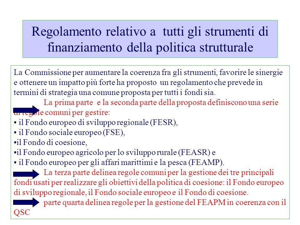 UE Elementi di quadro Coerenza con i programmi nazionali di riforma Coordinamento: politica di coesione, sviluppo rurale, fondi per gli affari marittimi e la pesca (programmazione fondi FESR-FSE- FEARS-FEAMP) Obiettivi e indicatori per la misurazione dei progressi verso il conseguimento degli obiettivi di Europa 2020 Efficacia: Introduzione di un quadro di riferimento dei risultati Efficienza: consolidamento della capacità amministrativa, riduzione della burocrazia Quadro strategico comune Contratto di partenariato Programmai operativi