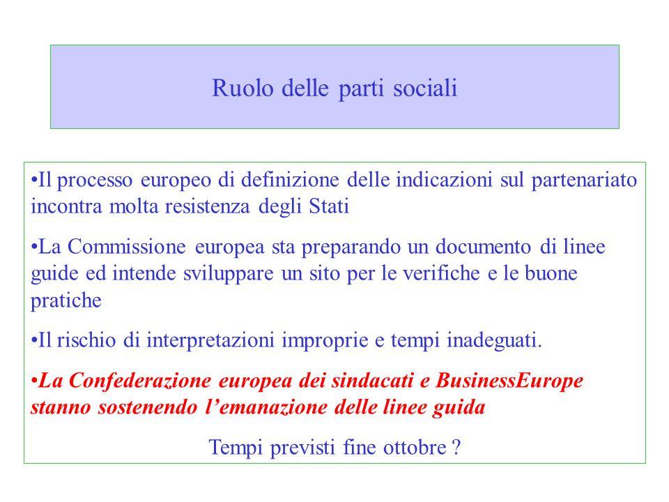 Ruolo delle parti sociali Il processo europeo di definizione delle indicazioni sul partenariato incontra molta resistenza degli Stati La Commissione e