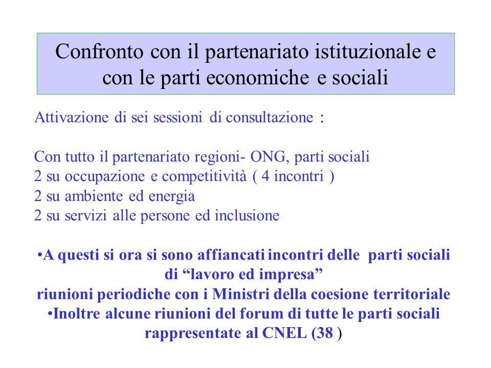 Confronto con il partenariato istituzionale e con le parti economiche e sociali Attivazione di sei sessioni di consultazione : Con tutto il partenaria