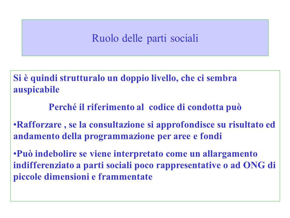 Ruolo delle parti sociali Si è quindi strutturalo un doppio livello, che ci sembra auspicabile Perché il riferimento al codice di condotta può Rafforz