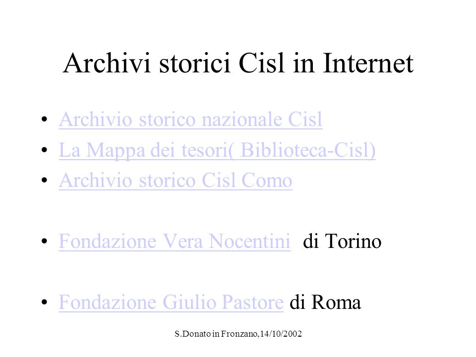 S.Donato in Fronzano,14/10/2002 Fondazione Pastore