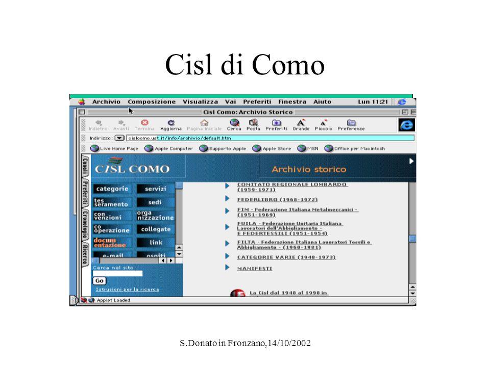 S.Donato in Fronzano,14/10/2002 Cisl di Como