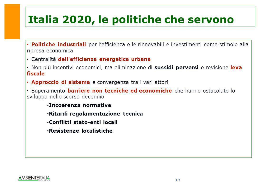 13 Italia 2020, le politiche che servono Politiche industriali per lefficienza e le rinnovabili e investimenti come stimolo alla ripresa economica Cen