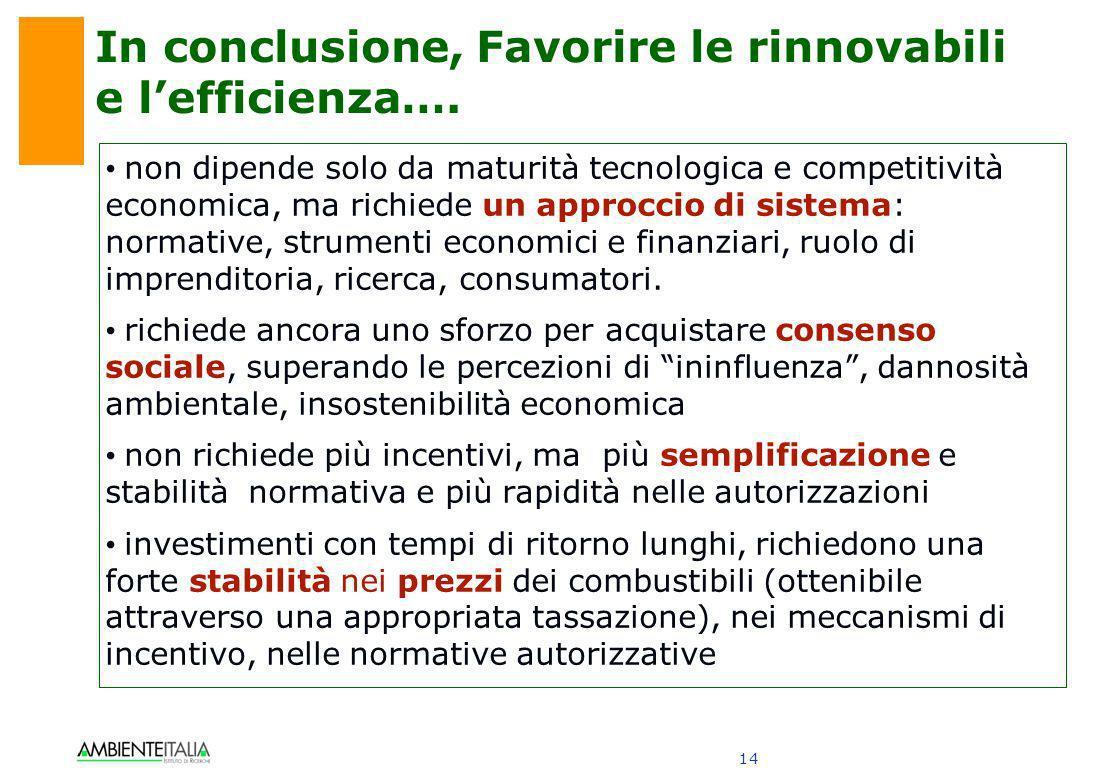14 In conclusione, Favorire le rinnovabili e lefficienza…. non dipende solo da maturità tecnologica e competitività economica, ma richiede un approcci