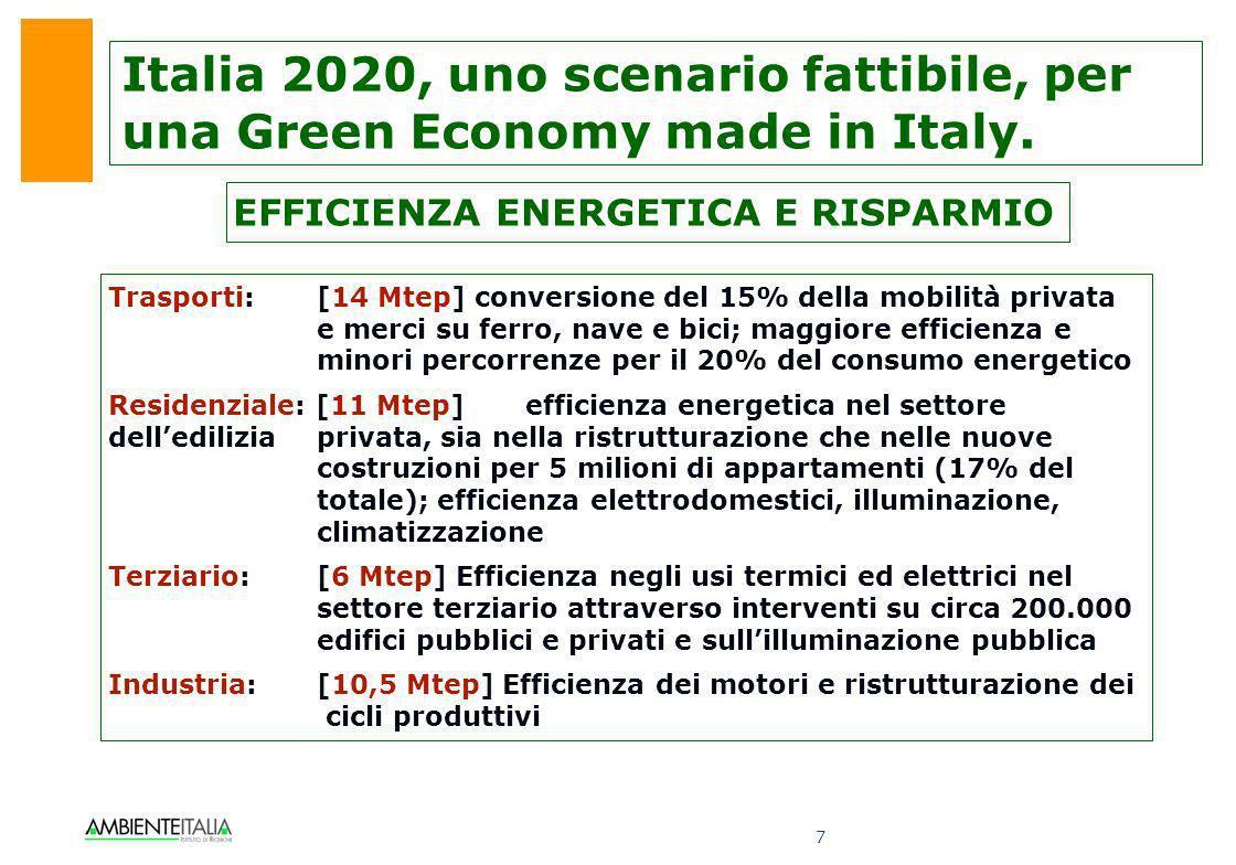 8 Le ENERGIE RINNOVABILI in Italia possono arrivare a 100.000 GWh di produzione elettrica e a 11,6 Mtep di usi termici al 2020, equivalente a 28,2 Mtep di energia primaria, pari al 17% dei consumi energetici.