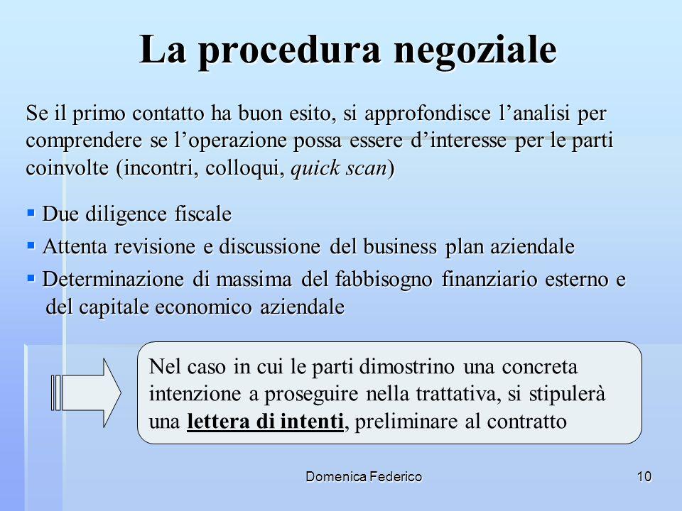 Domenica Federico10 La procedura negoziale Se il primo contatto ha buon esito, si approfondisce lanalisi per comprendere se loperazione possa essere d