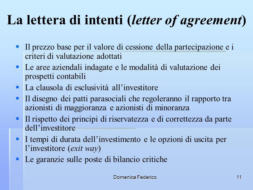 Domenica Federico11 La lettera di intenti (letter of agreement) Il prezzo base per il valore di cessione della partecipazione e i criteri di valutazio