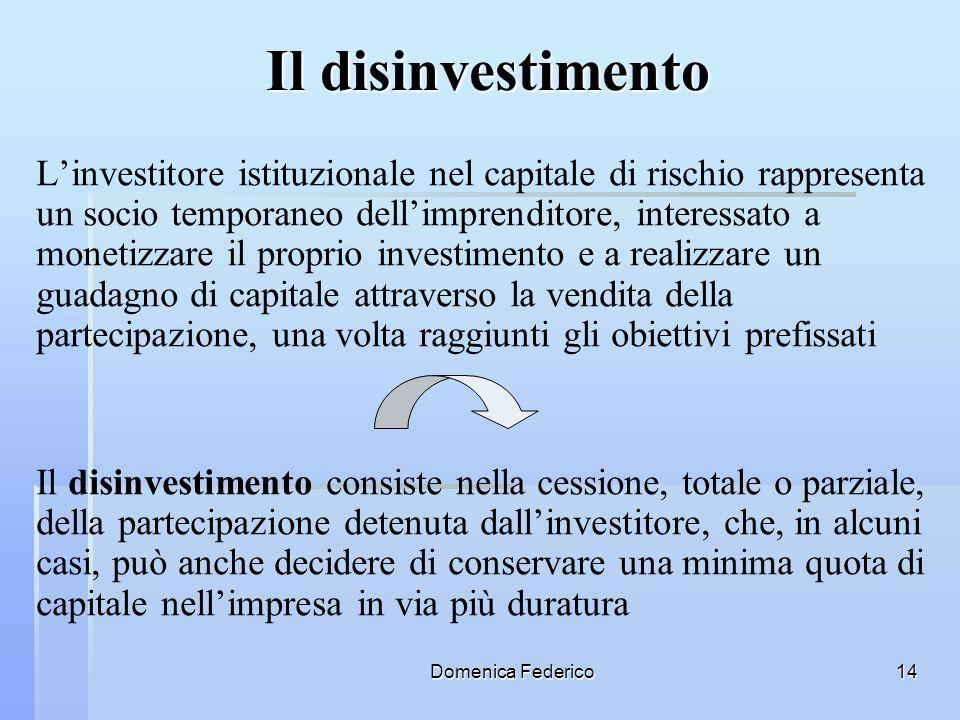 Domenica Federico14 Il disinvestimento Linvestitore istituzionale nel capitale di rischio rappresenta un socio temporaneo dellimprenditore, interessat
