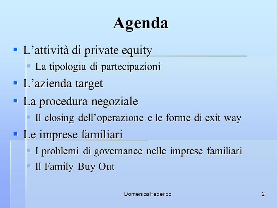 Domenica Federico2 Agenda Lattività di private equity Lattività di private equity La tipologia di partecipazioni La tipologia di partecipazioni Lazien