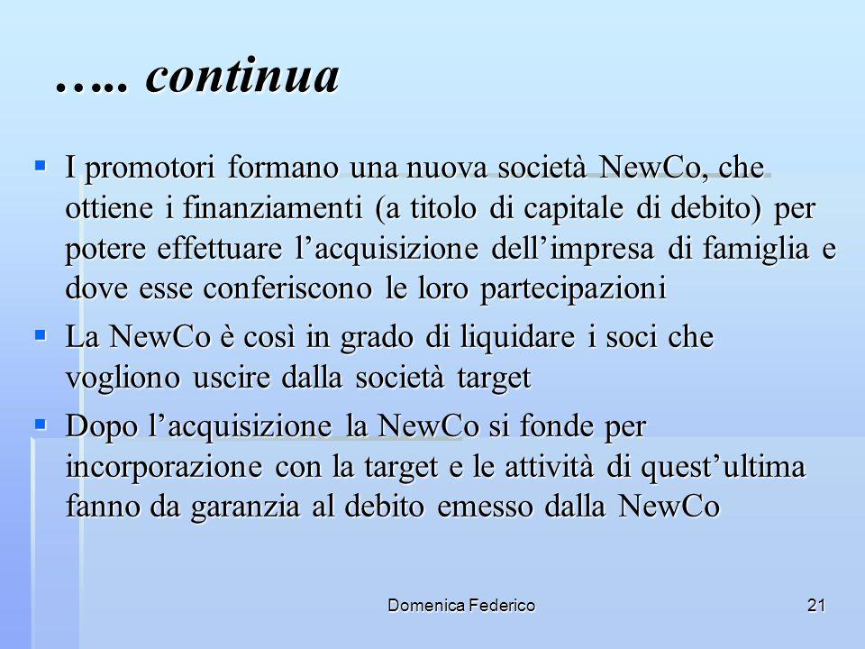 Domenica Federico21 ….. continua I promotori formano una nuova società NewCo, che ottiene i finanziamenti (a titolo di capitale di debito) per potere