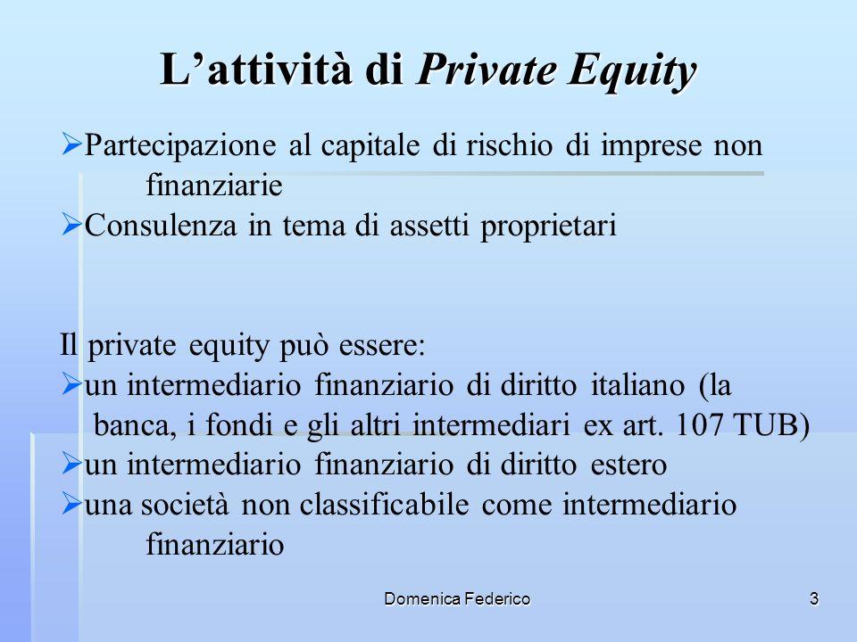 Domenica Federico3 Lattività di Private Equity Partecipazione al capitale di rischio di imprese non finanziarie Consulenza in tema di assetti propriet