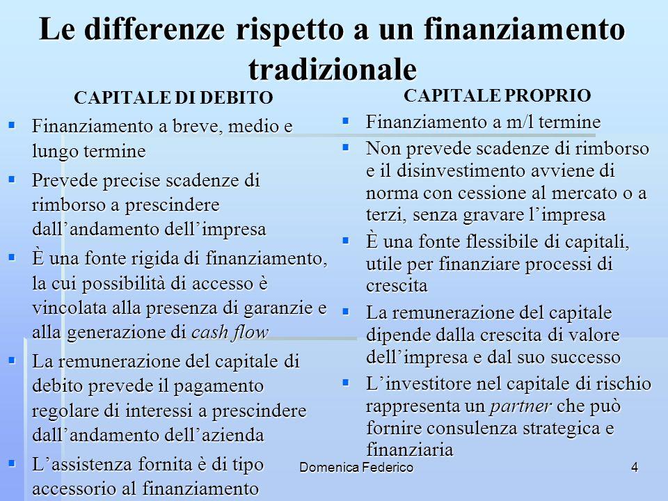 Domenica Federico4 Le differenze rispetto a un finanziamento tradizionale CAPITALE PROPRIO Finanziamento a m/l termine Finanziamento a m/l termine Non