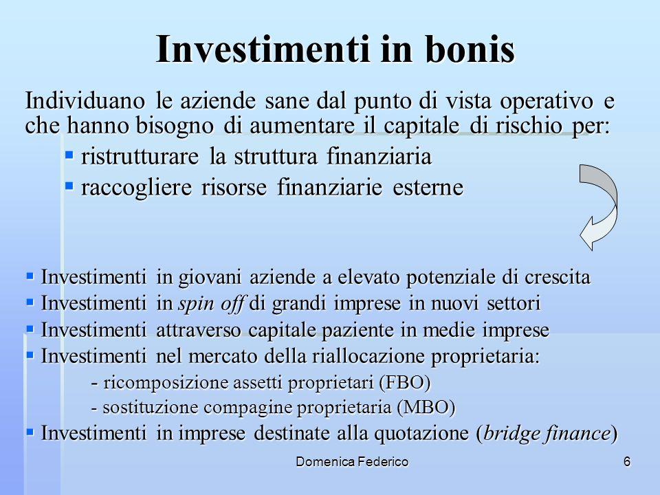 Domenica Federico6 Investimenti in bonis Individuano le aziende sane dal punto di vista operativo e che hanno bisogno di aumentare il capitale di risc