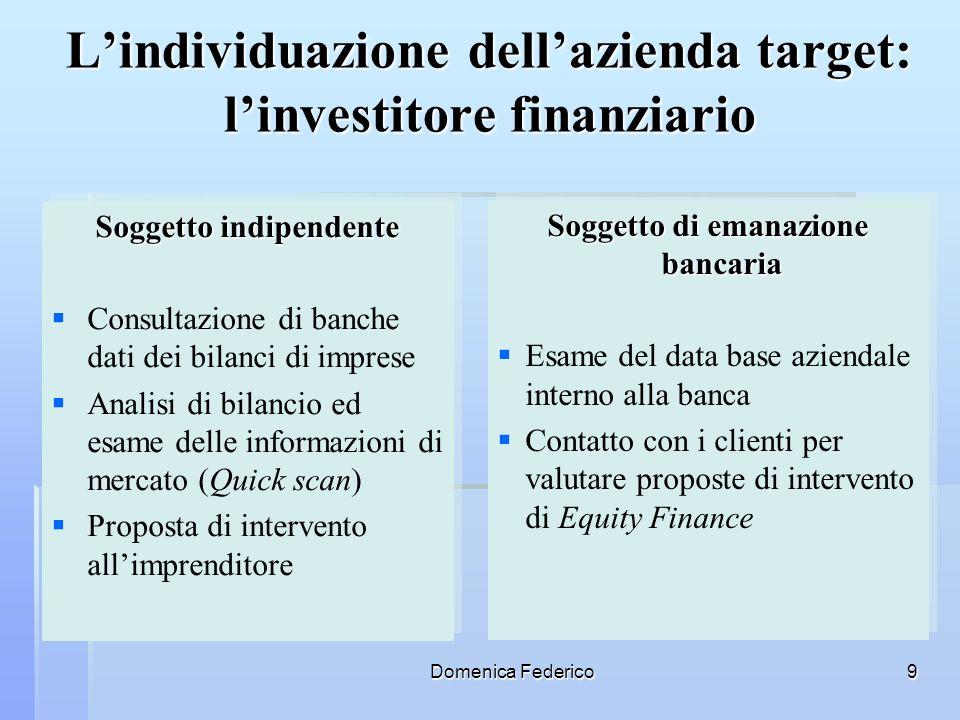 Domenica Federico9 Lindividuazione dellazienda target: linvestitore finanziario Soggetto indipendente Consultazione di banche dati dei bilanci di impr