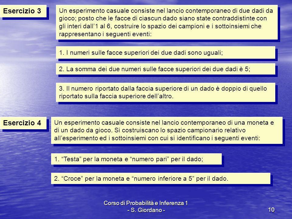 Corso di Probabilità e Inferenza 1 - S. Giordano -10 Esercizio 3 Esercizio 4 Un esperimento casuale consiste nel lancio contemporaneo di due dadi da g