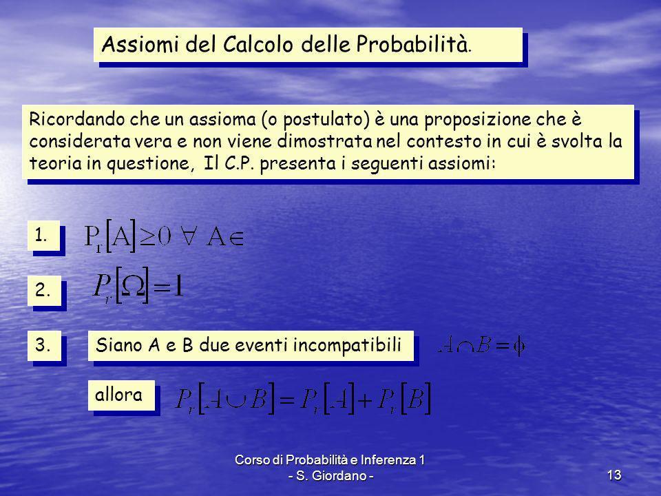 Corso di Probabilità e Inferenza 1 - S. Giordano -13 Assiomi del Calcolo delle Probabilità. Ricordando che un assioma (o postulato) è una proposizione