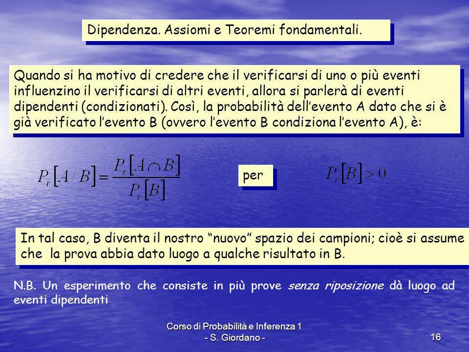 Corso di Probabilità e Inferenza 1 - S. Giordano -16 Dipendenza. Assiomi e Teoremi fondamentali. Quando si ha motivo di credere che il verificarsi di