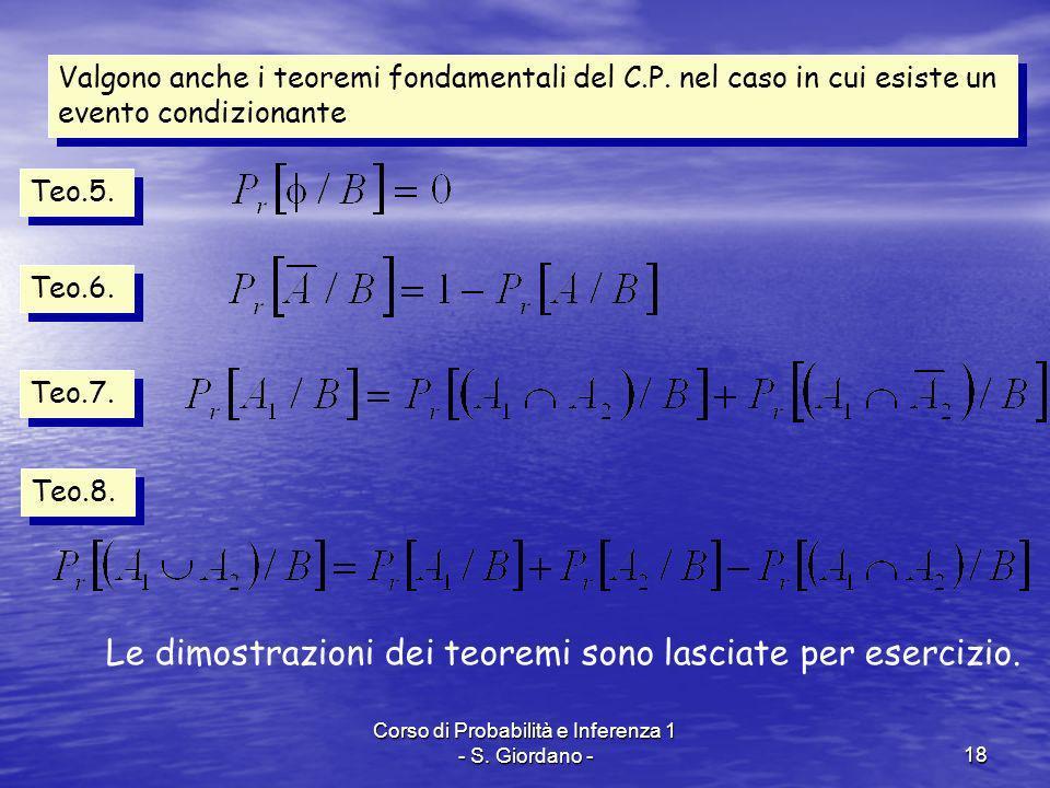 Corso di Probabilità e Inferenza 1 - S. Giordano -18 Valgono anche i teoremi fondamentali del C.P. nel caso in cui esiste un evento condizionante Teo.