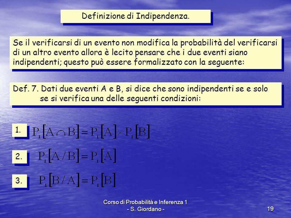 Corso di Probabilità e Inferenza 1 - S. Giordano -19 Definizione di Indipendenza. Se il verificarsi di un evento non modifica la probabilità del verif
