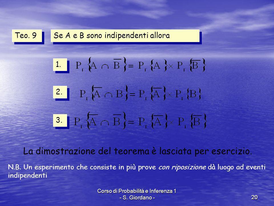 Corso di Probabilità e Inferenza 1 - S. Giordano -20 Teo. 9 Se A e B sono indipendenti allora 1. 2. 3. La dimostrazione del teorema è lasciata per ese
