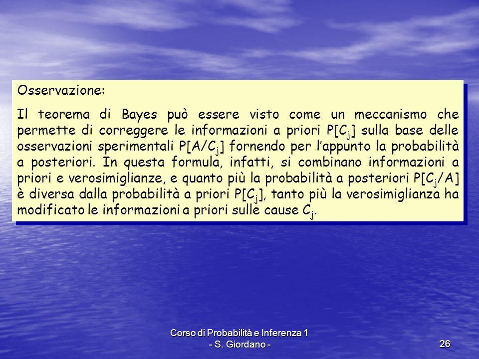 Corso di Probabilità e Inferenza 1 - S. Giordano -26 Osservazione: Il teorema di Bayes può essere visto come un meccanismo che permette di correggere