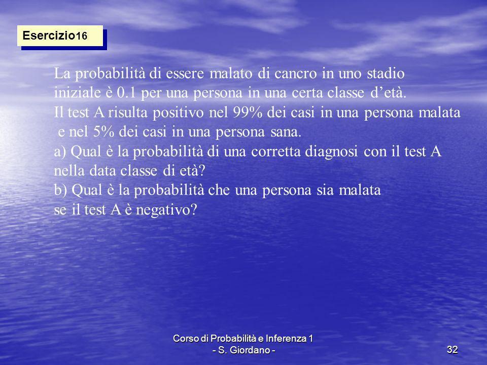 Corso di Probabilità e Inferenza 1 - S. Giordano -32 Esercizio 16 La probabilità di essere malato di cancro in uno stadio iniziale è 0.1 per una perso